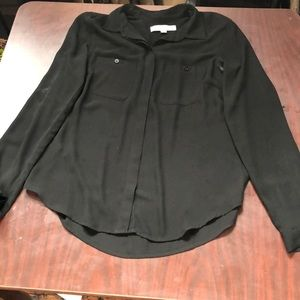 LOFT black long sleeve button down collared top!